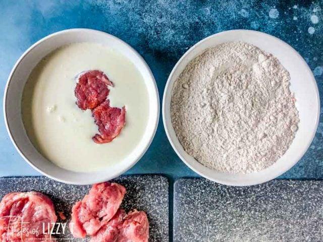 dredging pork tenderloin in milk