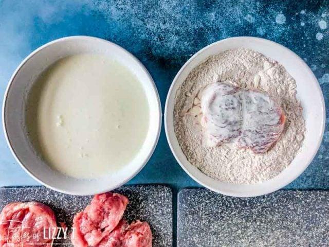 dredging pork tenderloin in flour