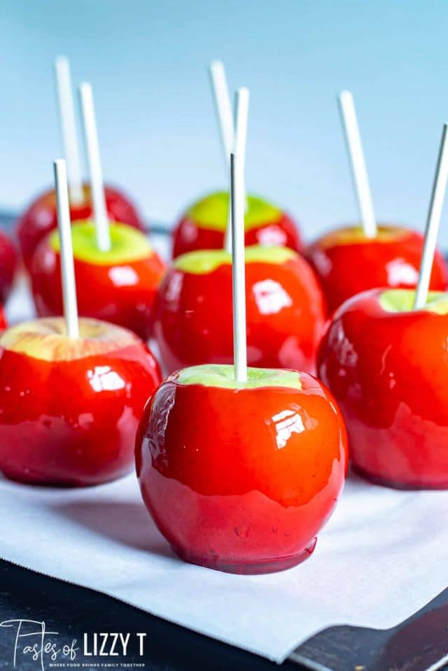 candied apples on parchment paper