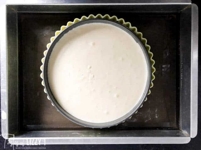 overhead view of unbaked Cheesecake