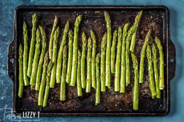 asparagus on a baking pan