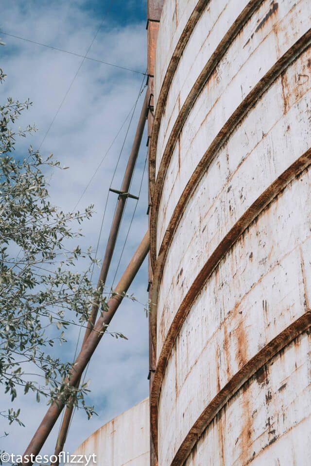 A close up of a silo