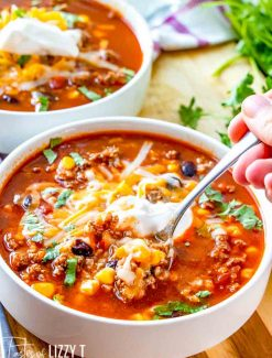 Beefy Mexican Rice Soup with a spoon