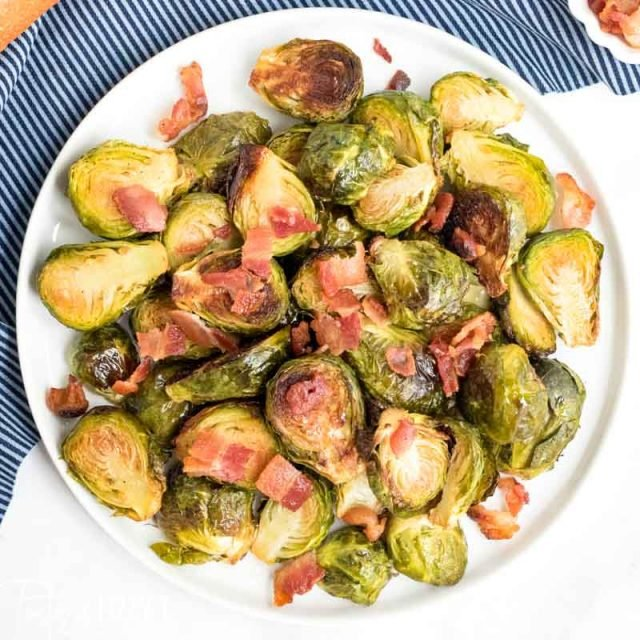 A plate of roasted brussels sprouts