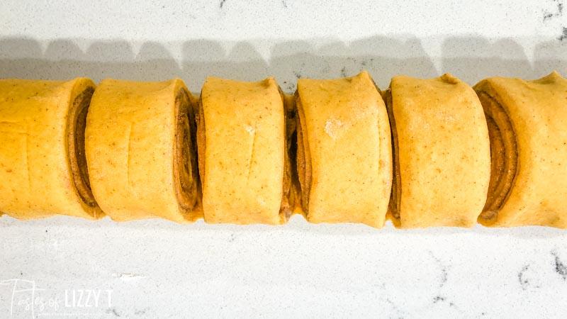 sliced unbaked cinnamon rolls