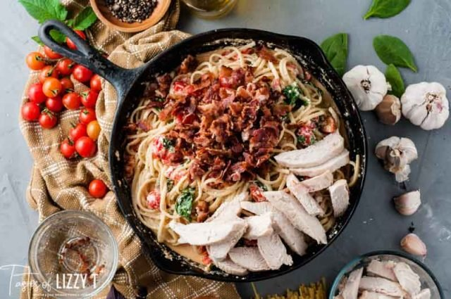 skillet with bacon and chicken