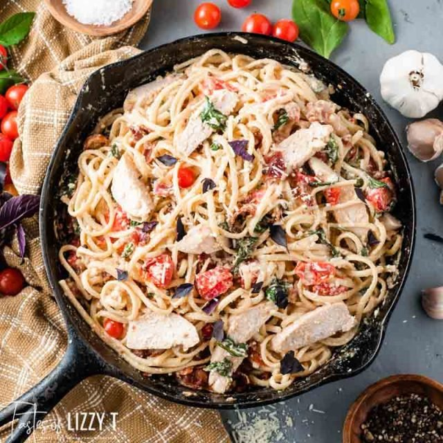 skillet of Tuscan Chicken Pasta
