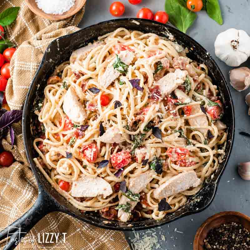 skillet of Tuscan Chicken Pasta