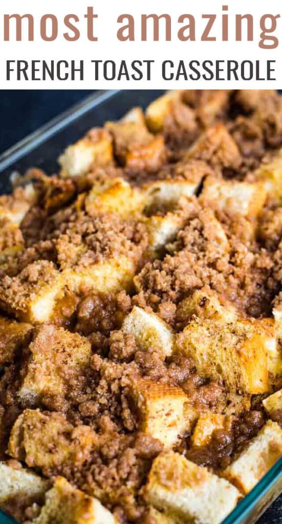 A close up of food, french toast casserole