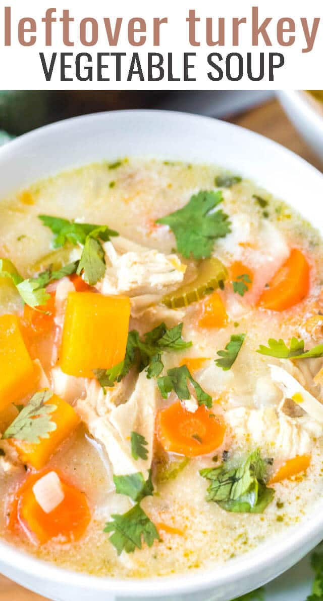 Use every part of your turkey...carcass and all! This Leftover Turkey Soup starts with a homemade turkey broth and adds in loads of vegetables for a comforting soup recipe. #turkey #turkeybroth #broth #soup #leftovers via @tastesoflizzyt