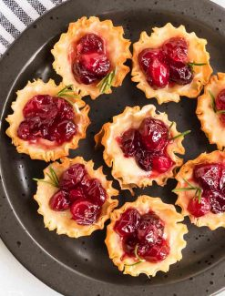 Cranberry Brie Bites with rosemary