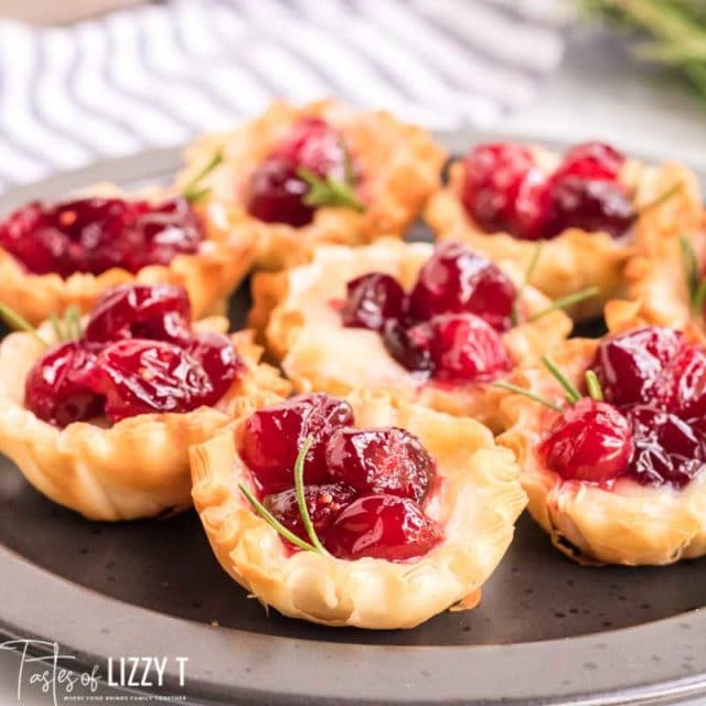 Cranberry Brie Bites on a plate