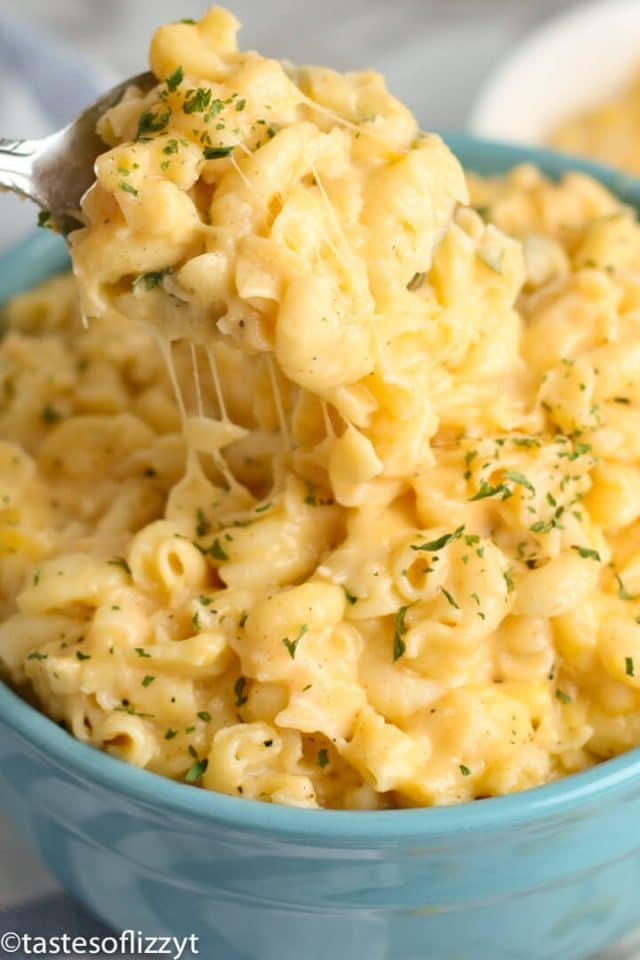 A bowl of noodles with sauce, with Cheese and Macaroni