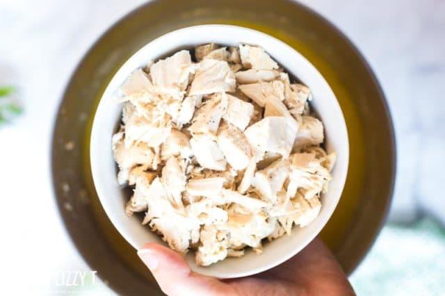 bowl of chopped turkey