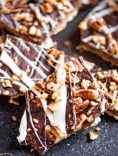 saltine toffee with pecans and white chocolate