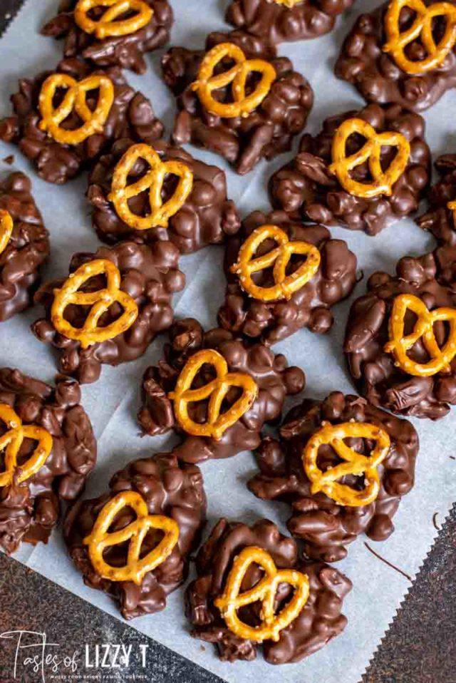 chocolate turtles with pretzels on top