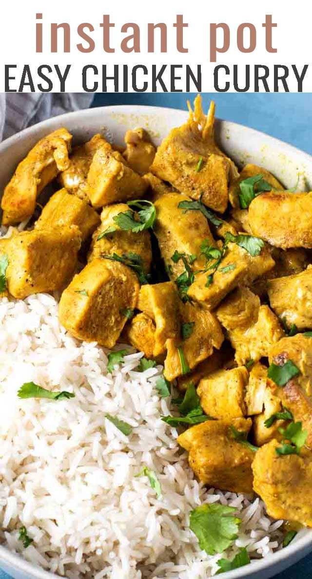 Looking for an easy dinner for busy weeknights? Try this 30 minute Instant Pot Chicken Curry. You'll love the comforting flavors and a tip for making it less spicy. #chicken #curry #instantpot #ip via @tastesoflizzyt