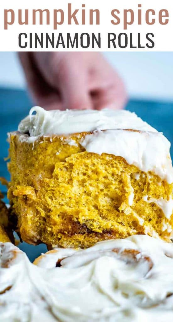 There are no eggs in these fluffy, pumpkin cinnamon rolls! Pumpkin bread dough with real pumpkin filling. The heavy cream makes them extra gooey!