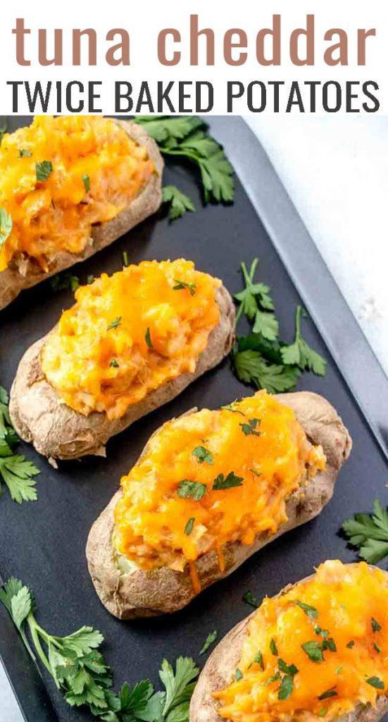 overhead view of stuffed potatoes