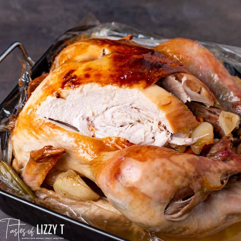 golden brown Turkey in a Bag