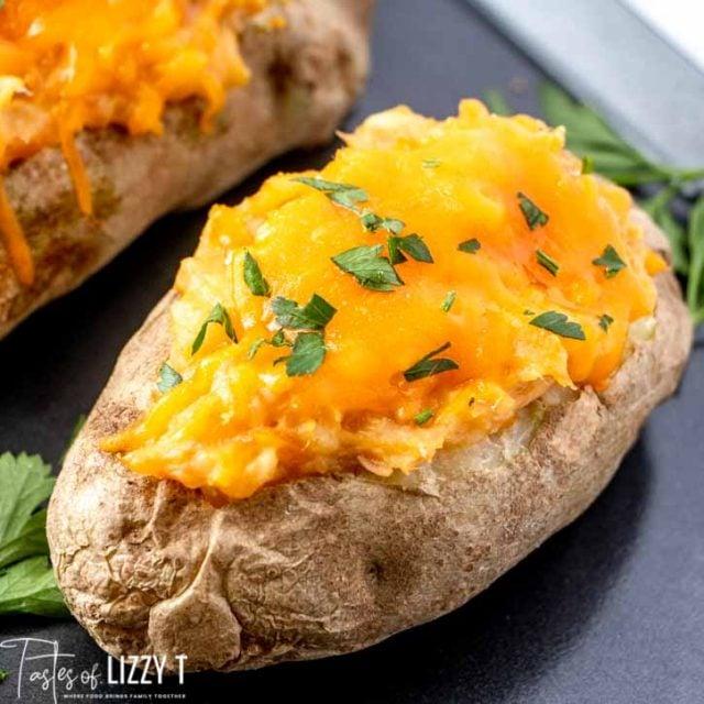 A close up of tuna potatoes