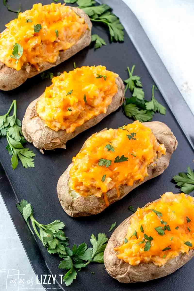 twice baked potatoes on a pan