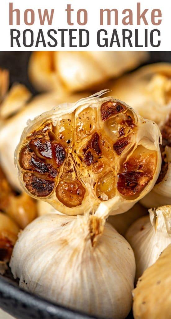 A close up of roasted garlic