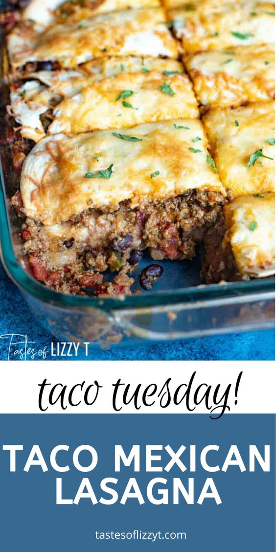 A new way to serve up tacos...layered taco lasagna. This easy Mexican casserole is full of beef, beans, tomatoes and flour tortillas. #lasagna #tacos #beef #mexican via @tastesoflizzyt