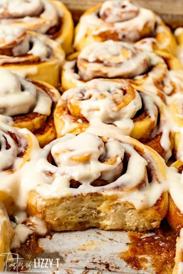 A close up of cinnamon rolls