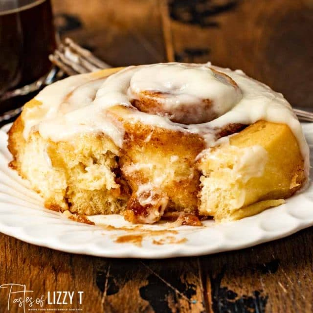 bite out of Brown Butter Cinnamon Rolls