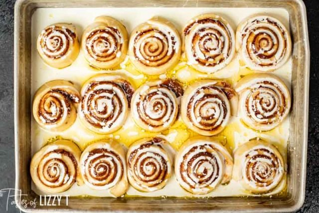 Brown Butter Cinnamon Rolls with heavy cream