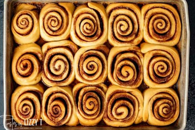 A close up of unfrosted cinnamon rolls