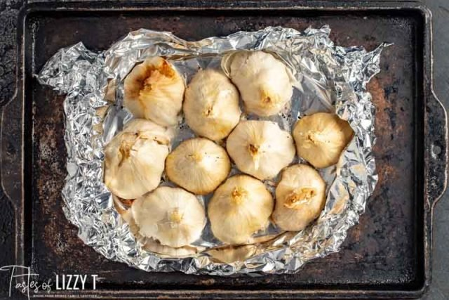 garlic on a foil lined pan