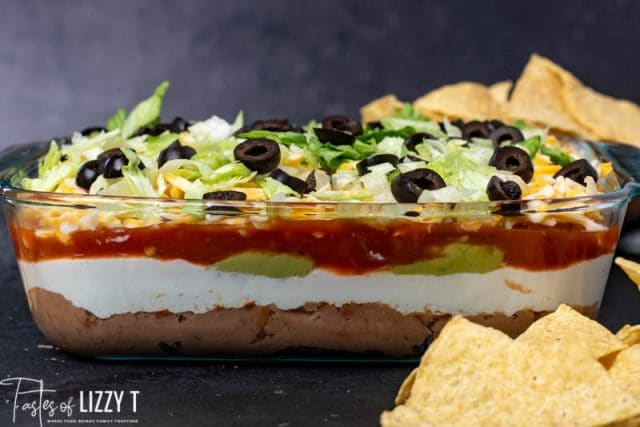 Seven Layer Taco Dip with refried beans