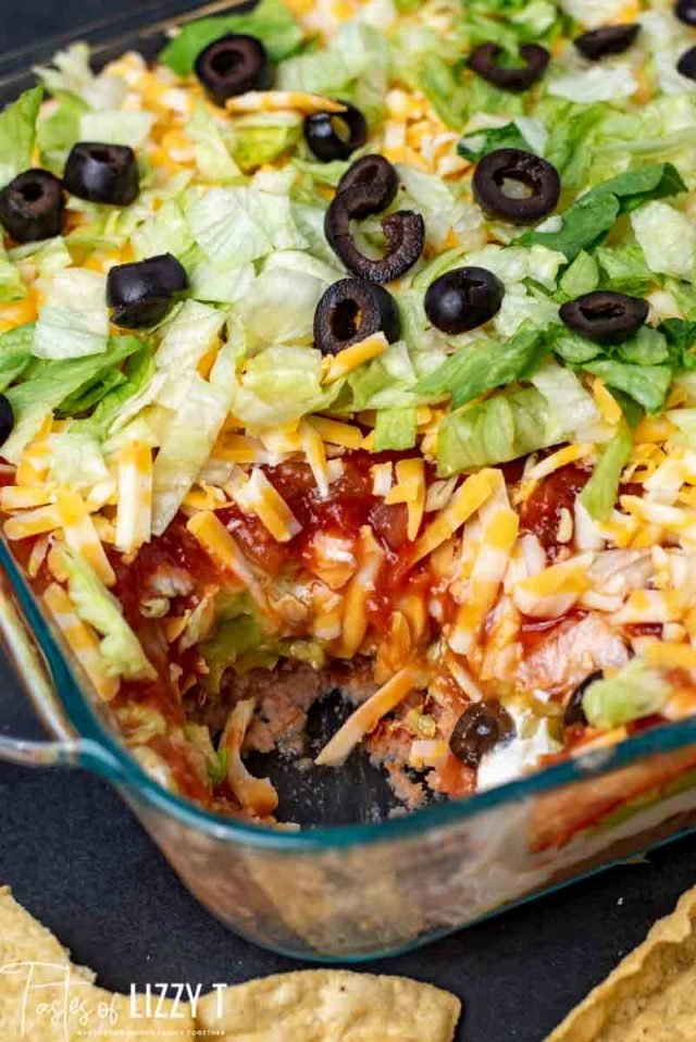 Seven Layer Taco Dip with colby