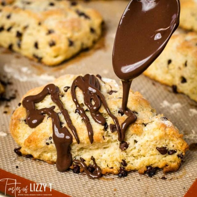 chocolate drizzling on a scone