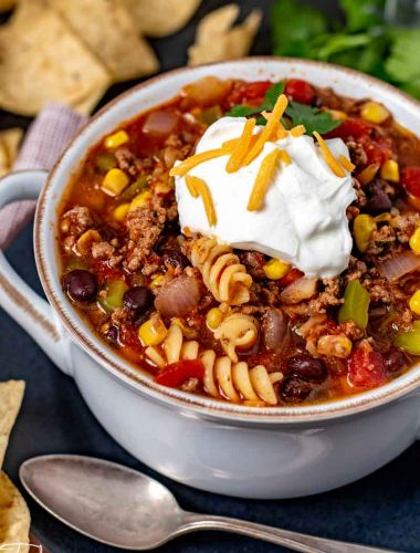 easy taco soup with sour cream