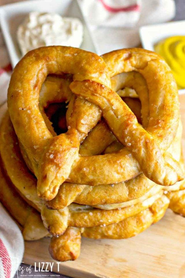 stack of homemade pretzels