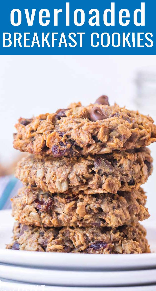 Oatmeal breakfast cookies with no white sugar are the perfect high protein way to start your day. Ready in under 30 minutes! via @tastesoflizzyt
