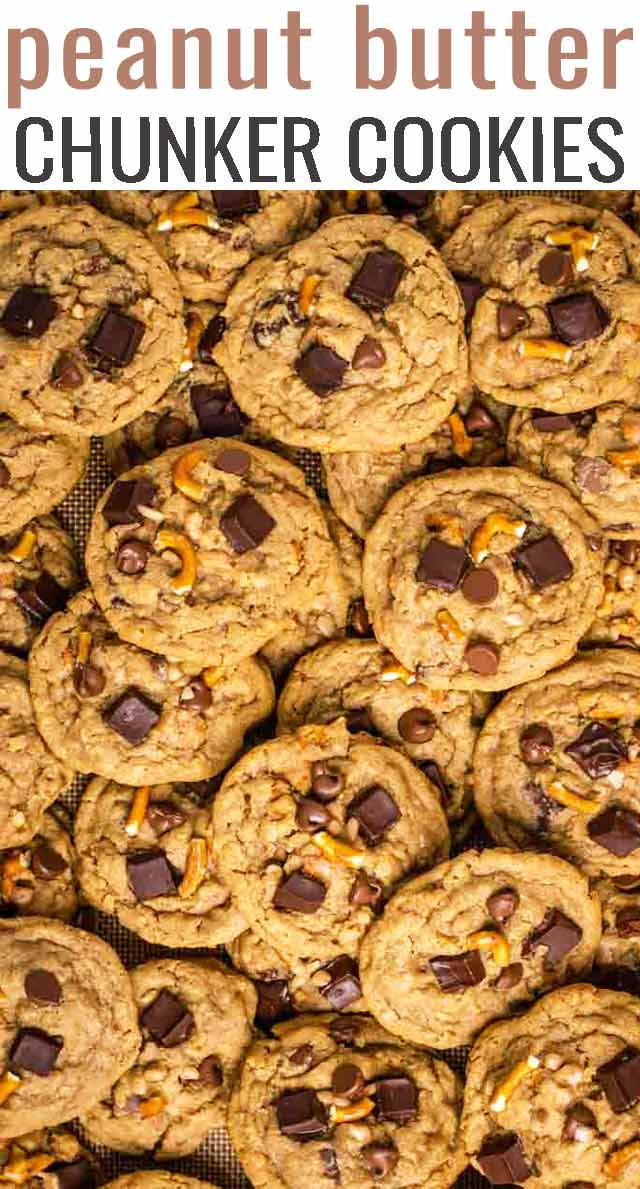 Thick, chewy, chunky peanut butter cookies are stuffed with peanut butter, chocolate, pretzels, peanuts, toffee, oatmeal and hints of cinnamon spice. via @tastesoflizzyt