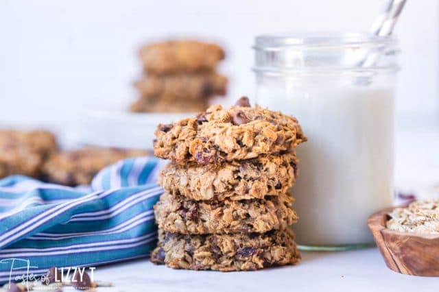 stack of breakfast cookies with milk