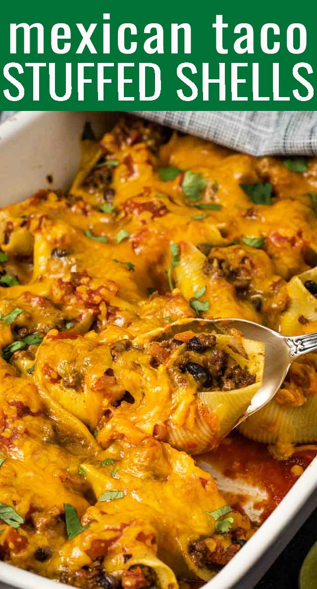 Add a Mexican flair to your stuffed shells! Loaded with beef, beans, salsa and cheese, these Taco Stuffed shells are ready for the table in under an hour. via @tastesoflizzyt