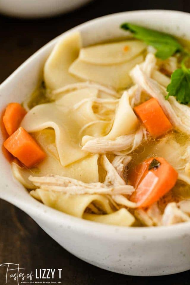 chicken noodle soup in a bowl