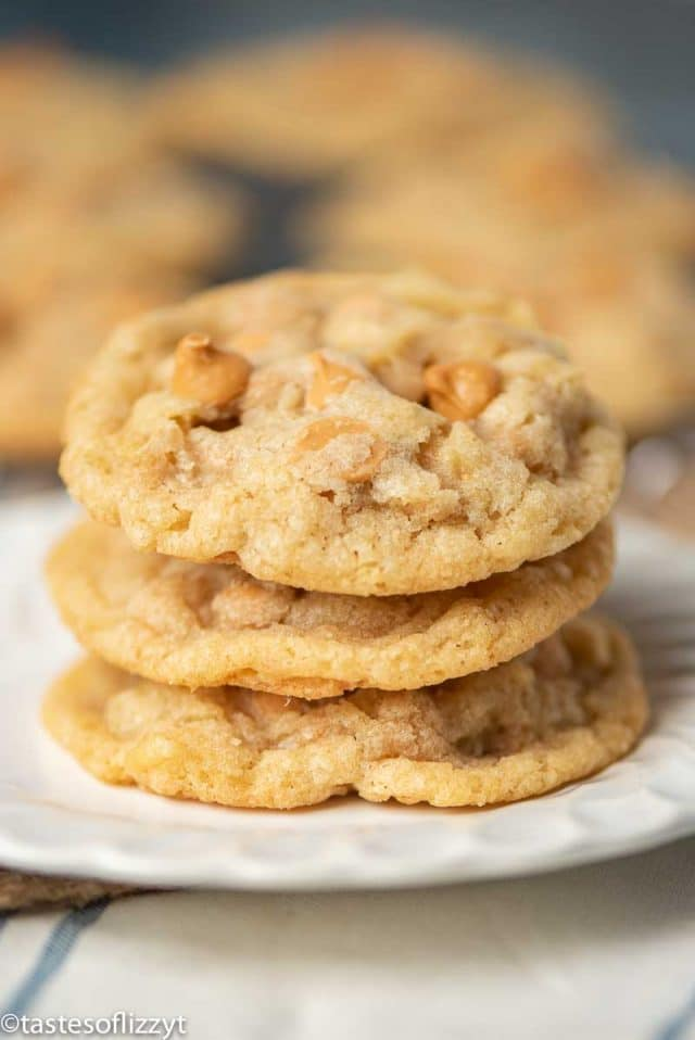 stack of 3 butterscotch chip cookies