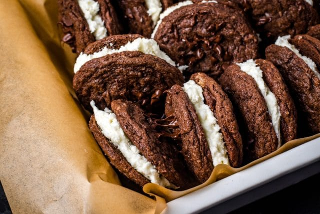 cookies sandwiches in a baking pan