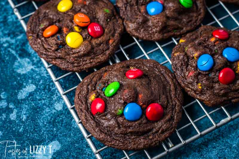 double chocolate cookies with m&Ms