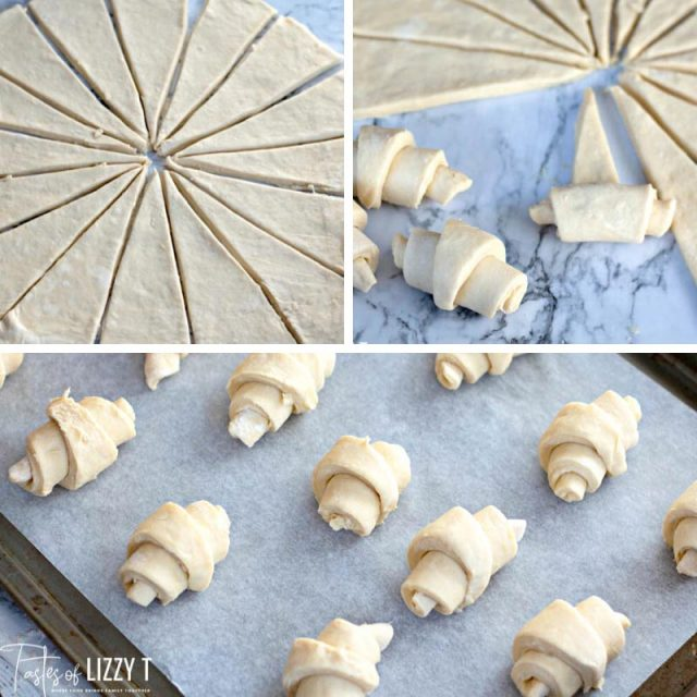 collage on how to cut crescent rolls