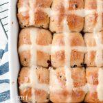 overhead shot of hot cross buns