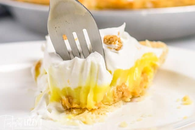 pudding pie with a fork and bite out of it