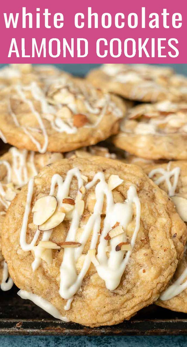 The chewiest, most indulgent white chocolate chip cookies you will ever have! These White Chocolate Chip Almond Cookies will be gone in no time! via @tastesoflizzyt